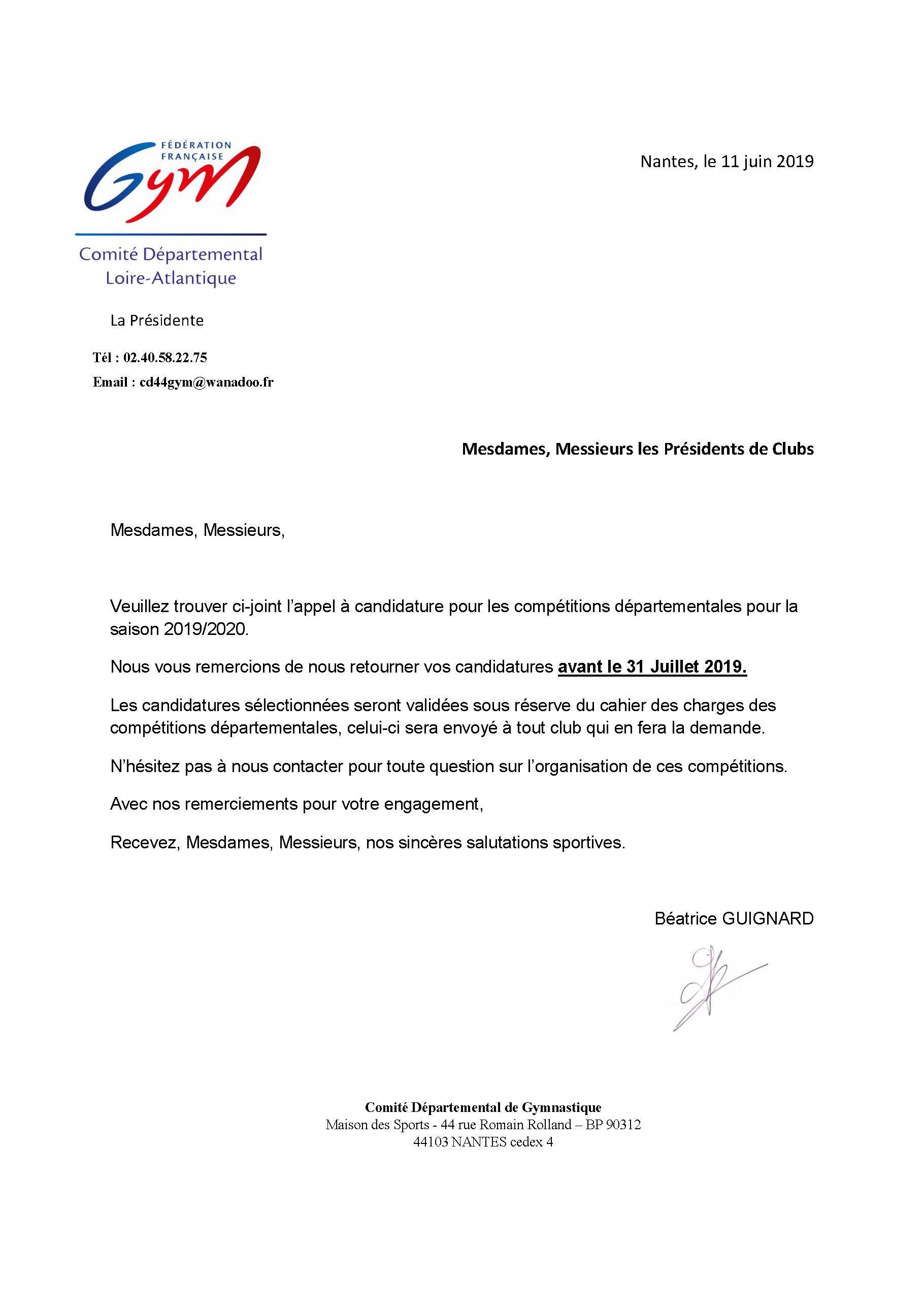 Courrier Candidatures Compétitions Départementales 2019 2020